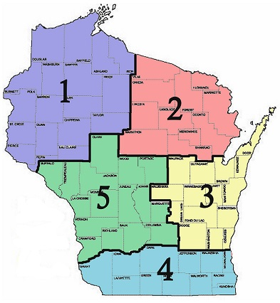 Wisconsin State Horse Council WHC Districts - Wisconsin state map